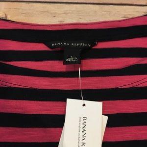 Banana Republic Tops - Banana Republic Pink & Navy Striped Top, size L